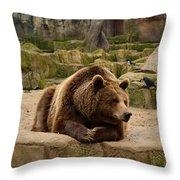 Thinker Bear Throw Pillow