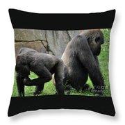 Thinking Gorilla Throw Pillow