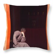 Thinking Monk Throw Pillow