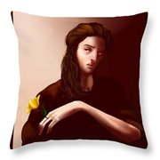 Thinking Of Yellow Tulips Throw Pillow