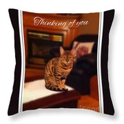 Thinking Of You - Bengal Cat Throw Pillow