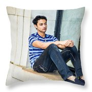 Young Boy Thinking Outside Throw Pillow