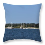 Third Beach Middletown With Boats Throw Pillow