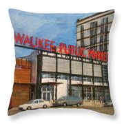 Third Ward - Milwaukee Public Market Throw Pillow