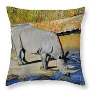 Thirsty Rhino Throw Pillow
