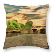 This Morning On The River Throw Pillow