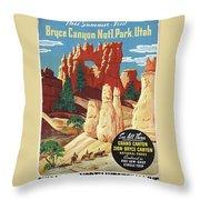 This Summer - Visit Bryce Canyon National Par, Utah, Usa - Retro Travel Poster - Vintage Poster Throw Pillow