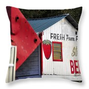 This Way For Strawberries Throw Pillow