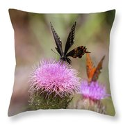 Thistle Pollinators - Large And Small Throw Pillow