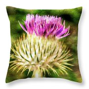 Thistle - The Flower Of Scotland Watercolour Effect. Throw Pillow