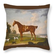 Thomas Egerton's Chestnut Hunter With A Groom And Two Hounds And A Terrier In A River Landscape Throw Pillow
