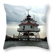 Thomas Point Shoal Lighthouse - Up Close Throw Pillow