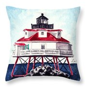 Thomas Point Shoal Lighthouse Annapolis Maryland Chesapeake Bay Light House Throw Pillow