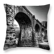 Thomas Viaduct In Black And White Throw Pillow by Dennis Dame