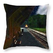 Thomaston Train At Night Throw Pillow