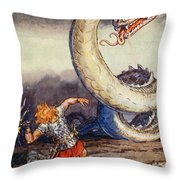 Thor Went Forth Against Jormungand Throw Pillow