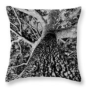 Thorn Tree Black And White Throw Pillow