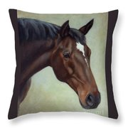 Thoroughbred Horse, Brown Bay Head Portrait Throw Pillow
