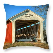 Thorpe Ford Covered Bridge Throw Pillow