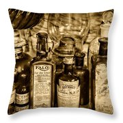 Those Old Apothecary Bottles In Sepia Throw Pillow