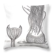 Thoughtful Mermaid Throw Pillow
