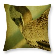 Thoughtful Pelican Throw Pillow