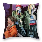 Thoughtful Shopping -city Woman Painting Throw Pillow