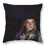 Thoughtful Woman Outdoors On Rainy Night Throw Pillow
