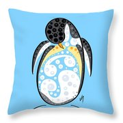 Thoughts And Colors Series Penguin Throw Pillow