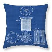 Thread Spool Patent 1877 Blueprint Throw Pillow