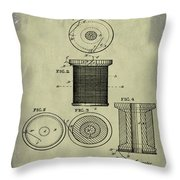 Thread Spool Patent 1877 Weathered Throw Pillow