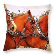 Three Abreast  Throw Pillow