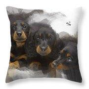 Three Adorable Black And Tan Dachshund Puppies Throw Pillow