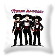 Three Amigos - Day Of The Dead Throw Pillow