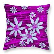 Three And Twenty Flowers On Pink Throw Pillow