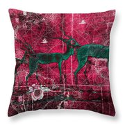 Three Antelope On Red Throw Pillow