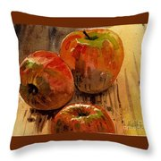 Three Apples Throw Pillow