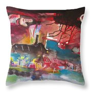 Three Arms10  Original Abstract Colorful Landscape Painting For Sale Red Blue Green Throw Pillow