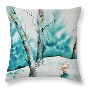 Three Aspens On A Snowy Slope Throw Pillow