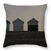 Three Beach Huts And A Lamp Throw Pillow