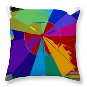 Three Beach Umbrellas Throw Pillow