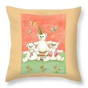 Three Bears Ready For The Party Throw Pillow