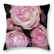 Three Beautiful Roses Throw Pillow