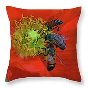Three Bees At Lunch Throw Pillow