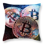 Three Bitcoin Coins In A Colorful Lighting. Throw Pillow