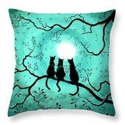 Three Black Cats Under A Full Moon Throw Pillow