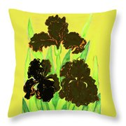 Three Black Irises, Painting Throw Pillow