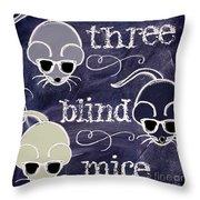 Three Blind Mice Children Chalk Art Throw Pillow
