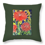 Three Red Blooms Throw Pillow