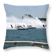 Three Boats Approaching The Start  Throw Pillow
